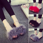 2017 Women's Fur Fluffy Slippers Sandals Slides Mules Home lady Open Toe Shoes