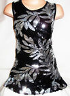 GIRLS 60s BLACK SEQUIN SILVER FLORAL PATTERN EVENING DISCO DANCE PARTY DRESS TOP