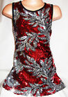 GIRLS 60s RED SEQUIN SILVER FLORAL PATTERN EVENING DISCO DANCE PARTY DRESS TOP