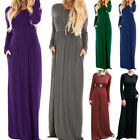 Womens Ladies Long Sleeve Stretchy Plain Jersey Long Maxi Party Dress Oersized