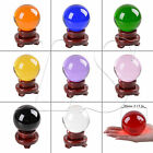 """LONGWIN 80mm 3.15"""" D Quartz Crystal Ball Sphere Wood Stand With Storage Box"""