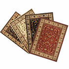 TRADITIONAL BLACK BEIGE RED FLORAL PERSIAN AREA RUG ORIENTAL BORDERED CARPET