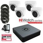 4Ch HiWatch DVR, 4 x 1080p White Turret cameras, 40m IR CCTV kit