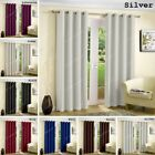 Thermal Insulated Blackout Eyelet Ring Top Pair of Curtains With Free Tiebacks