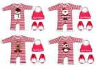 Red White Stripe Baby My First Christmas 1st Romper Sleep Suit Booties Hat Santa