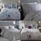 Appletree Floral Striped 100% Cotton Duvet Cover Bedding Set - Blue Purple Gray