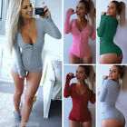 Lady Women Rompers Deep V-Neck Sloid Knitted Long Sleeve Tops Jumpsuit US Stock