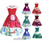 Womens Santa Christmas Party Dress Vintage Xmas Swing Lace Panel Skater Dress AA
