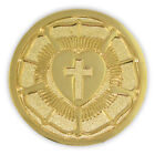 PinMart's Gold Plated Lutheran Seal Luther Rose Religious Lapel Pin image