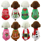 Christmas Puppy Dog Cat Pet Clothes Dress Vest T-Shirt Apparel Warm Jacket New