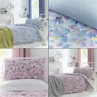 Watercolour Floral Duvet Cover Set with Printed Textured Reverse - Blue Pink