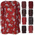Ladies Christmas Xmas Printed Long Sleeve Mini Skater Swing Dress Novelty Santa