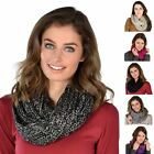 Gorgeous Ladies Knitted Womens Snood Sequins Scarf Cream Grey Black Pink Purple