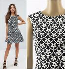 ex Lipsy Mono Floral Print Skater Party Occasion Dress