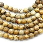 "Natural Picture Jasper Smooth Loose Spacer Round Beads 15"" 4mm 6mm 8mm 10mm 12mm"