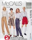 McCall's Sewing Pattern 7815 Misses' 2 Hour Pants & Shorts