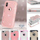 US Fr iPhone X 8 7 Plus Bling Case Hybrid Armor Rugged Rubber Diamond Hard Cover