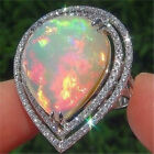 Women 925 Sliver Ring Fire Opal Propose Engagement Men Gift Wedding Size 6-10