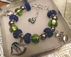 NFL SEATTLE SEAHAWKS Crystal European Team Charm Bracelet   FREE SHIPPING!!! on eBay
