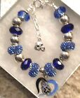 NFL TENNESSEE TITANS Crystal European Team Charm Bracelet  FREE SHIPPING!!!