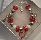 NHL DETROIT REDWINGS Crystal European Team Charm Bracelet FREE SHIPPING!!!