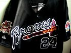 Brand New! BLK Atlanta Braves #24 Deion Sanders Majestic 2patch sewn Jersey men