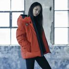 Descente Unisex Ski Training Solid Color Hood Down Jacket Red Size XS-XL