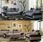 New Jumbo Dino 3 + 2 Seater Set Sofa Fabric Black & Grey + Brown & Mocha Beige