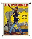 US Marines Land and Sea Picture on Canvas Hung on Copper Rod, Ready to Hang, Wal