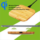 QI Wireless Charger Power Slim Wood Pad Mat +Receiver for iPhone 5 6s 7 8 Plus X