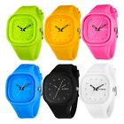 Students Boy Girl Analog Square Quartz Waterproof Rubber Silicone Sport Watch US