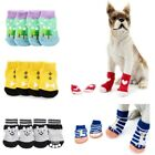 4X Pet Dog Cat Knit Weave Anti-slip Socks Puppy Warm Skid Cartoon Bottom Shoes