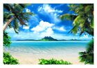 ISLAND VIEW PALM TREE SUN SEA BEACH WALL ART CANVAS PICTURE PRINT VARIOUS SIZES