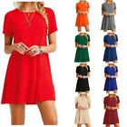 Women's Casual Solid Color Short Sleeve Tunic Top Blouse Shirt Dress Plus Size