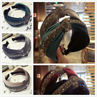 Shiny Velvet Knotted Wide Headwear Women Headband Hairband Vintage Hair Hoop New