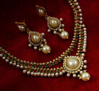 Traditional Indian Goldtone Necklace Earring Set Bollywood Ethnic Party Jewelry