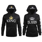 Men Women King and Queen Hoodies Jumper Sweater Tops Lover Couples Sweatshirts