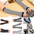 Stretchy Soft Knitted Wrist Arm Warmer Long Sleeve Striped Fingerless Gloves