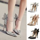Womens Classics Ankle Straps Stilettos Pointy Toe High Heels Party Wedding Shoes
