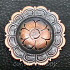 WESTERN SADDLE HEADSTAL HORSE TACK COPPER ENGRAVED FLOWER CONCHO screw back