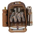 4 Person Picnic Backpack Basket w/ Insulated Compartment to Keep Food Chilled