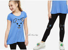 NWT JUSTICE Girls 8 10 Blue Dog Sparkle Swingy Tee & Dog Leggings Set Outfit