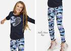 NWT JUSTICE GIRLS 10 12 14 Navy Criss-Cross Top & Shimmer Camo Leggings Outfit