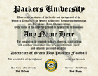 Green Bay Packers #1 Fan Custom Diploma Certificate for Man Cave NFL Novelty $14.99 USD on eBay