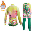 Winter Fleece Women's Long Sleeve Mountain Bike Jersey & Pants Set Thermal S-3XL