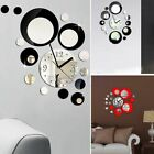 Modern Mirror Style Removable Decal Art Circle Clock Wall Sticker Home Room DIY