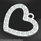 Sterling Silver Heart Charm With Crystal Pendant 15mm PK1 PK3