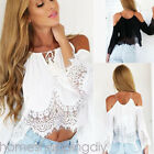 USA Boho Women Off Shoulder Casual Solid Shirts Lace Top Tees Blusas Blouse Tops