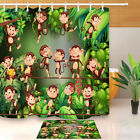 Waterproof Fabric Monkey Playing In The Jungle Shower Curtain Polyester Bath Mat