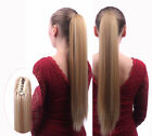 Long Straight Ponytail claw clip Wrap On Hair Extensions Natural Daily Woman D4